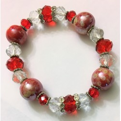 Red glass and pearl bead bracelet