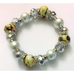 Yellow multi pearls w/silver and diamond accent bracelet