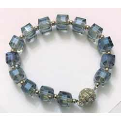 Blue glass bracelet with diamond ball magnetic clasp