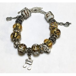 Music Lover - Yellow customized Pandora inspired beaded bracelet with music note charms w/lobster claw clasps