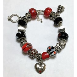 Just Married/Love- Red & Black customized Pandora inspired beaded bracelet with love charms w/lobster claw clasps